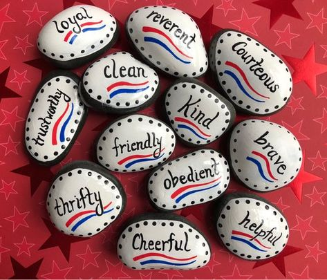 Boy Scouts Law, Twelve Points, Set of 12 Painted Stones, Eagle Ceremony, Eagle Scout, Scouts Gift, Scout Promise, Scout Oath