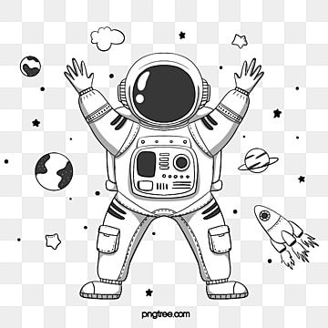 องค ประกอบน กบ นอวกาศสไตล การ ต นท วาดด วยม อ น กบ นอวกาศ มน ษย อวกาศ ดาวภาพ Png และ Psd สำหร บดาวน โหลดฟร น กบ นอวกาศ ดำและขาว การ ต น
