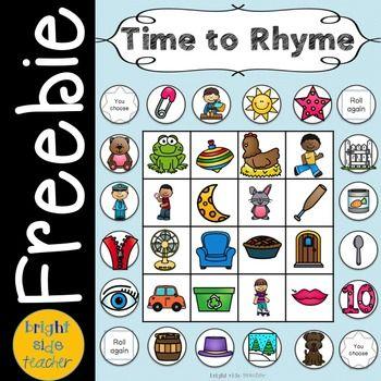 Time To Rhyme Game Board Freebie Rhyming Activities Rhyming Activities Kindergarten Rhyming Words Kindergarten rti rhyming and