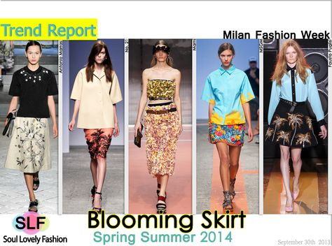 Blooming Skirt. #Floral Embellished #Skirt #Fashion #Trend for Spring Summer 2014 at Milan Fashion Week #MFW #Spring2014 #Trends