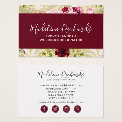 Burgundy Green Floral With Social Media Icons Business Card Zazzle Com Social Media Icons Social Media Floral