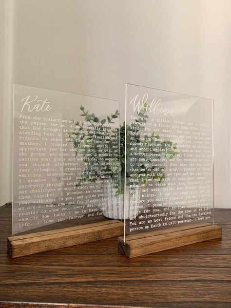 Engraved Vows on Acrylic Custom Engraved Wedding Vows Cute Wedding Ideas, Wedding Goals, Perfect Wedding, Fall Wedding, Rustic Wedding, Our Wedding, Wedding Planning, Dream Wedding, Godly Wedding