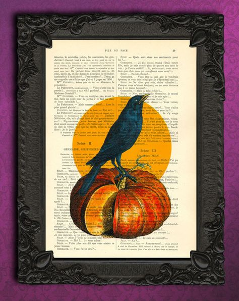 crow art pumpkin halloween decor black bird dictionary art print raven illustration on vintage dicti