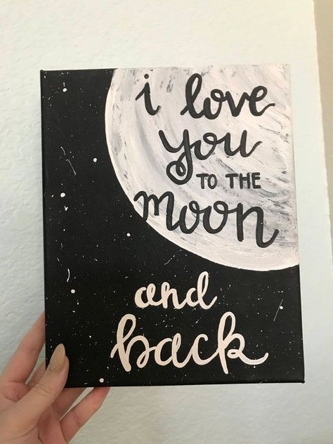 I love you to the moon and back hand-lettered, hand-painted sign, wall art, love decor, Christmas gi  - Couple - #art #Christmas #couple #Decor #Handlettered #Handpainted #Love #Moon #sign #wall