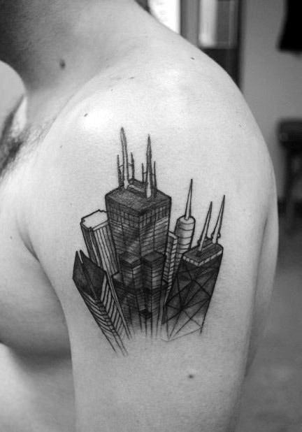 70 City Skyline Tattoo Designs For Men Downtown Ink Ideas Chicago Skyline Tattoo Skyline Tattoo Building Tattoo