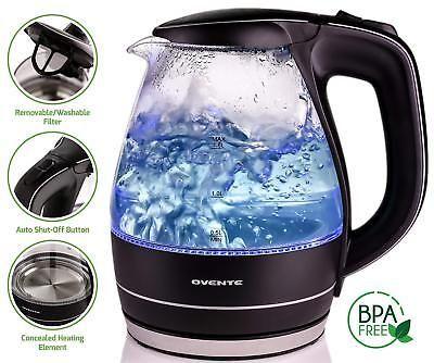 KG83 Ovente 1.5L Cordless Electric Glass Tea Kettle BPA Free Auto Shut Off