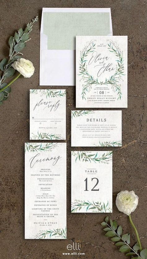 Natural Laurel wedding invitation suite with greenery perfect for a winery wedding