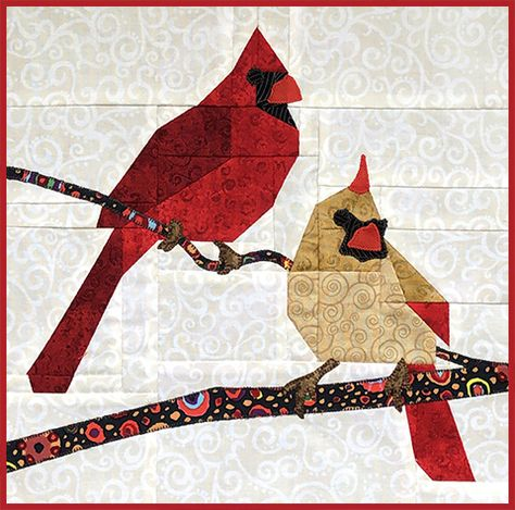 The FLOCK is a monthly bird block kit membership series from the Hummingbird Highway. Collect a new detailed bird quilt block kit each month that includes all the fabrics needed to make the block. Paper Pieced Quilt Patterns, Christmas Quilt Patterns, Barn Quilt Patterns, Patchwork Quilting, Rag Quilt, Vogel Quilt, Bird Quilt Blocks, Quilt Modernen, Animal Quilts