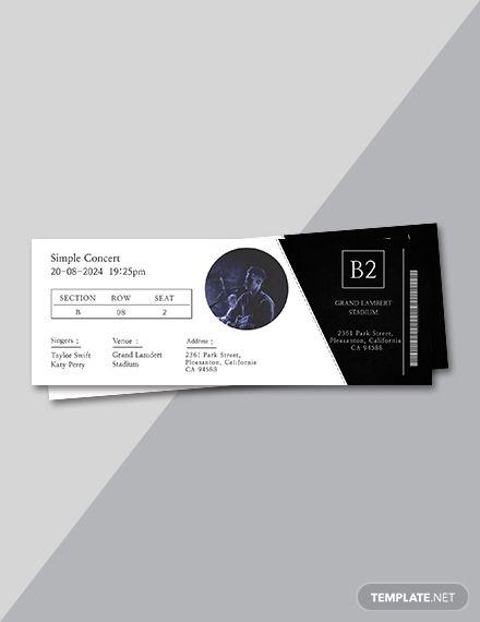 Free Simple Concert Ticket Ticket Design Ticket Design Template