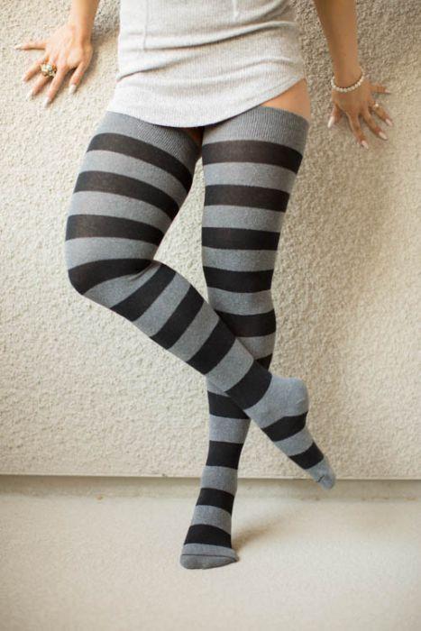 Extra Long Thigh High Socks Over The Knee OTK White Pink Women School Girl Men