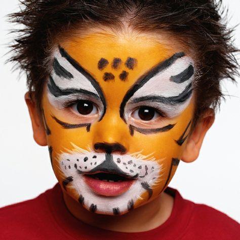 fasching schminke tiger abbildung kinder gesichtmalerei