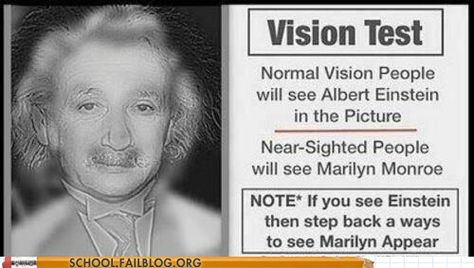 I legit see a mix. Its Marilyn's hair and Einstein's mustache. and its really blurry