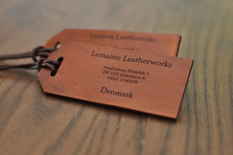 2 identical custom leather luggage tags, label with polished edges and laser ingraved text