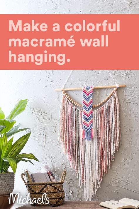 Using yarn is a great way to add color, texture and a focal statement to any room. Combine some macramé and wood beads for trendy wall art piece.