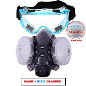 New Dust Mask Respirator Dual Filter Half Face Mask With Safety Glasses For Carpenter Builder Polishing Dust Proof 10 Filte In 2020 Dust Mask Face Mask Half Face Mask