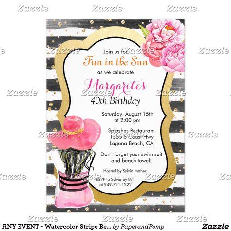 Any Event Watercolor Stripe Beach Invitation Zazzle Com