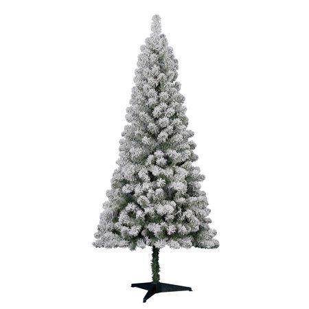 Holiday Time Flocked Pine Christmas Tree 6 Ft White On Green Walmart Com Affordable Christmas Decorations Metal Christmas Tree Flocked Christmas Trees