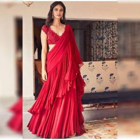 Red flair saree Georgette Navratri saree dandiya garba chiffon Sari Party Festive Wedding wear any o