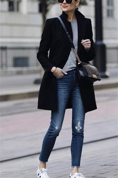 2019 CEA Women's Autumn and winter fashion pure color warm coat