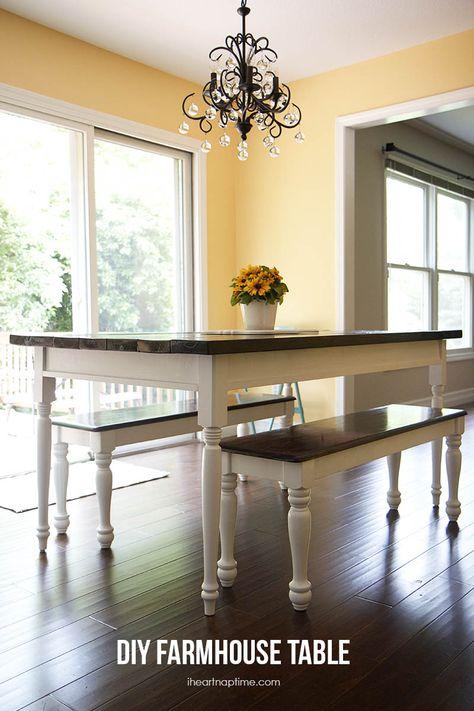 DIY farmhouse table on iheartnaptime.com ...LOVE