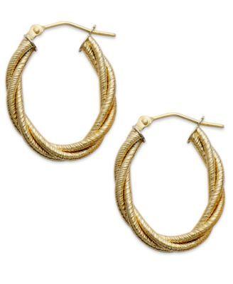 Mia Diamonds 14k Yellow Gold Polished Twisted Oval Hollow Hoop Earrings