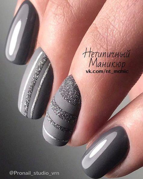 Beautiful Grey Nail Art Nails Nailart Naildesigns Gelnaildesigns Latest Nail Designs Trendy Nails Nails