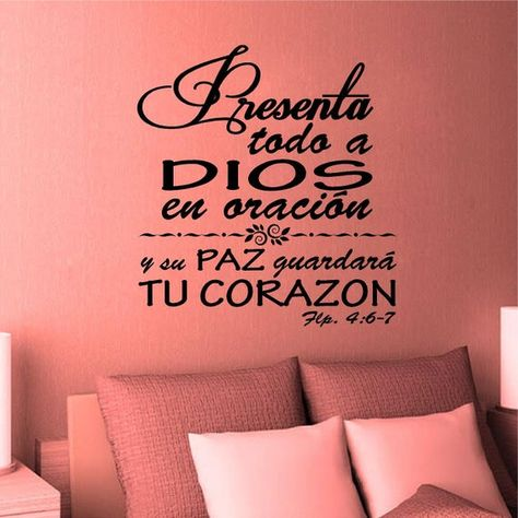 Wall Decal. Bible Scripture. Filipenses 4:6. Vinilos Decorativos. Inspirational Decals. Christian Ho
