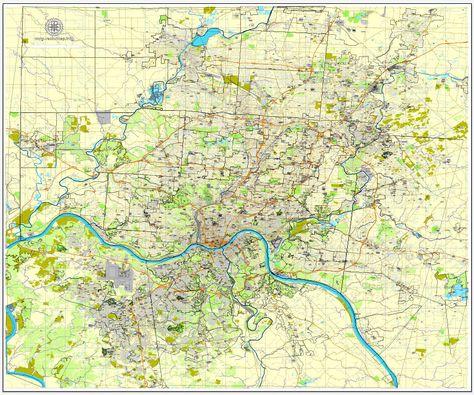 Us Map Cincinnati.Cincinnati Ohio Us Vector Map Adobe Pdf Editable City Plan V3