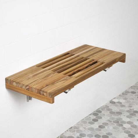 On Sale 24 L X 13 D Wall Mount Fold Shower Teak Bench With Slats Within Fold Down Shower Seat The Best Fold Down Shower Seat Woon Eetkamer Mediaconsole Stoelen
