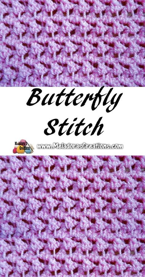 Crochet Stitches Patterns Meladoras Creations – Meladora's Butterfly Stitch – Free Crochet Pattern - This Your place to Learn to make the Meladora's Butterfly Stitch For FREE. by Meladora's Creations - Free Crochet patterns and Video Tutorials Crochet Stitches Free, Stitch Crochet, Tunisian Crochet, Afghan Crochet Patterns, Knitting Stitches, Stitch Patterns, Loom Crochet, Crochet Cable, Sock Knitting