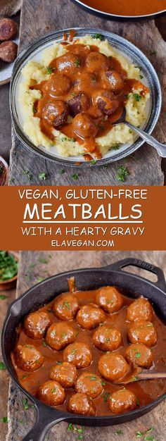 These vegan meatballs with a spicy gravy will make your mouth water. This gluten-free comfort meal is hearty, satisfying, and easy to make. Perfect for dinner and meal prep as well! #vegan #glutenfree #meatballs #gravy #mashedpotatoes | elavegan.com