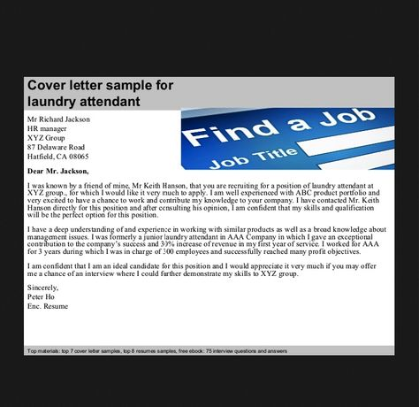 Laundry Attendant Cover Letter - http\/\/resumesdesign\/laundry - linen attendant sample resume