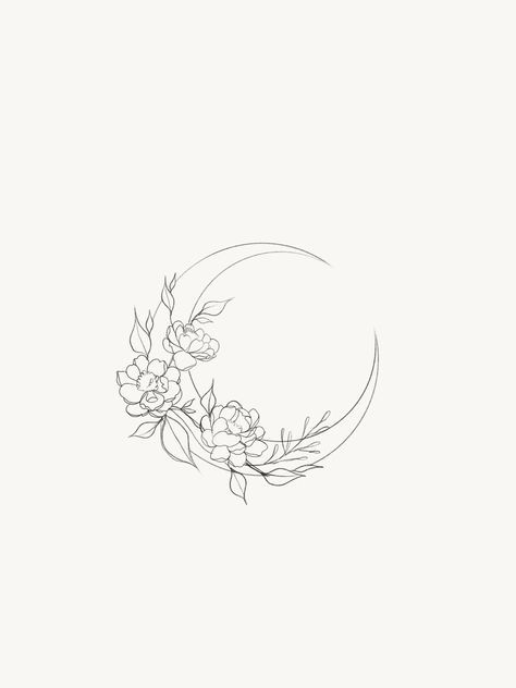 58 Trendy Flowers Illustration Tattoo Inspiration Moon Tattoo Designs Tattoo Outline Moon Tattoo