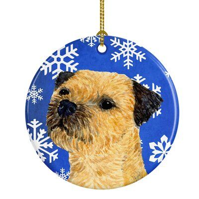 The Holiday Aisle Border Terrier Winter Snowflake Holiday Ceramic