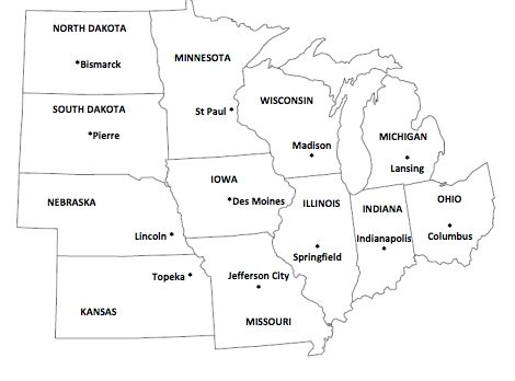 Blank Midwest Map blank midwest map us midwest region map ...