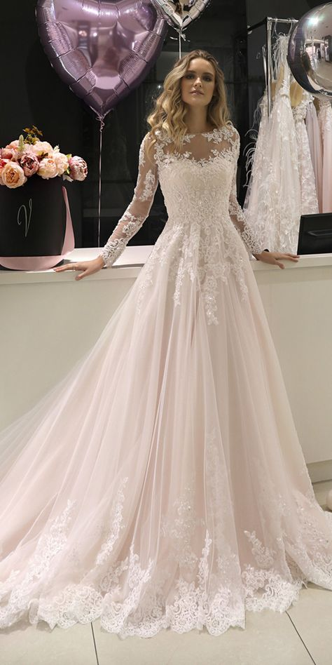 Marvelous Tulle Jewel Neckline A-line Wedding Dresses With Beaded Lace Appliques