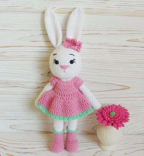 amigurumi bunny girl Rose crochet pattern