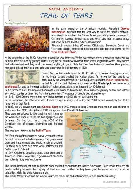 9 Trail Of Tears Reading Worksheet