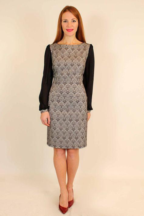 25357ff7696 Вечернее платье футляр из жаккарда с шифоновыми рукавами 44-50 р ( черный