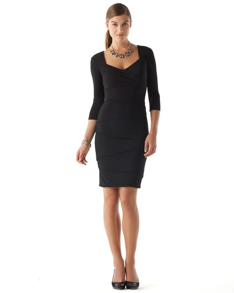 The Instantly Slimming 3 4 Sleeve Dress White House Black