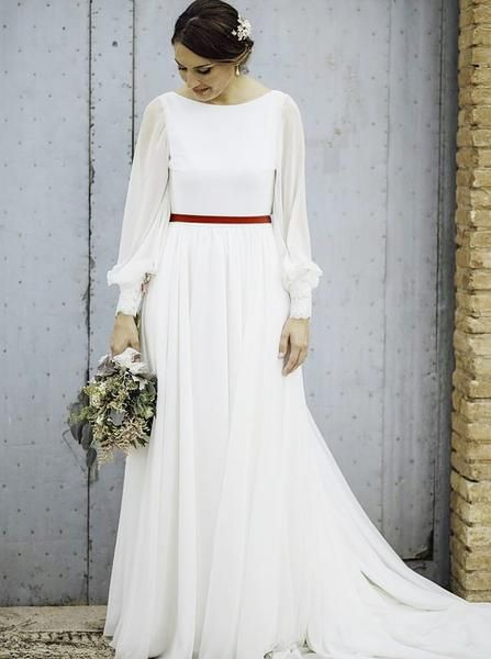 Summer Wedding Dresses With Long Sleeves Chiffon Long Bridal Dress