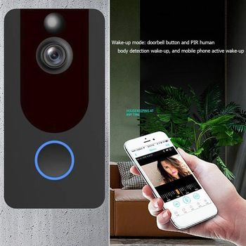 V7 Wifi Video Doorbell Camera Wifi 1080p 166 Degree Wide Angle Waterproof Wireless Video Door Phone Intercom Re Doorbell Camera Video Doorbell Video Door Phone