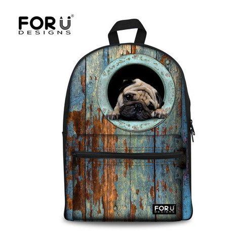 e1e550a018 Animal Pug Women s Canvas Travel Satchel Shoulder Bag Backpack School  Rucksack  FORUDESIGNS  Bookbag