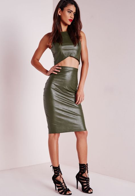 cde8e0fdd5 Missguided - Faux Leather Midi Skirt Khaki | Джинсовые вещи | Юбка