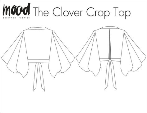 The Clover Crop Top - Free Sewing Pattern - Mood Sewciety - Dress sewing patterns - Plus Size Sewing Patterns, Vintage Sewing Patterns, Pdf Patterns, Diy Crop Top, Crop Tops, Crop Top Pattern, Pants Pattern, Sew Pattern, Mood Fabrics