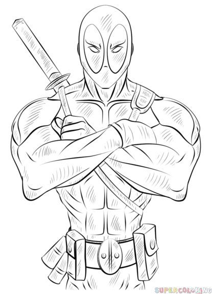 How To Draw A Deadpool Step By Step Drawing Tutorials For Kids And Beginners In 2020 Deadpool Drawing Drawing Tutorial Marvel Coloring