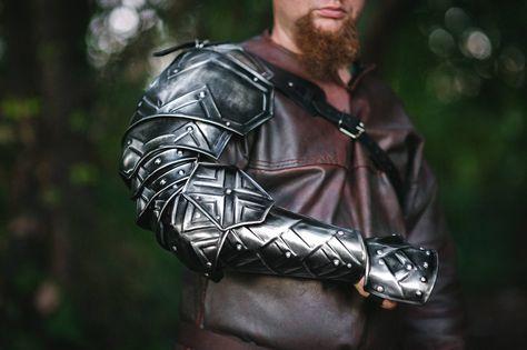 Shoulder fantasy dwarven armor single pauldron of blackened steel, dwarf cosplay, arm protection, la