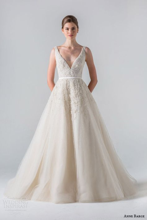 anne barge spring 2016 couture bridal versailles sleeveless a line tulle wedding dress plunging v neck tone on tone beading sheer beaded back