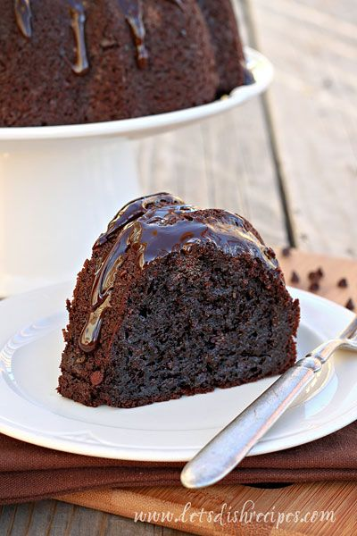 Ultimate Chocolate Fudge Bundt Cake.  The best chocolate cake!  I just topped with powered sugar.