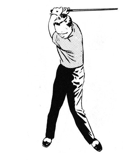 The turn starts with the movement of the club back and can be likened to one of those old-fashioned barber poles. The red, white and blue lines that go around the pole represent the body, and the pole is the stance, with the feet and head held firmly to make sure that the club gets back to where it started. It's essential that everything starts at once.
